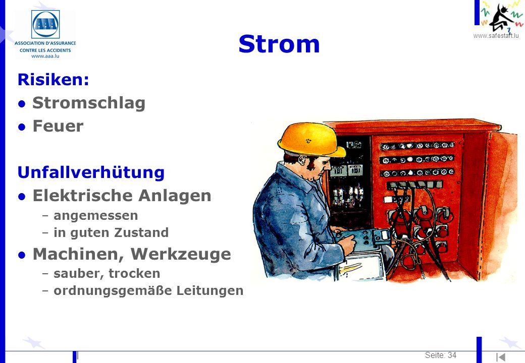 Strom Risiken: Stromschlag Feuer Unfallverhütung Elektrische Anlagen