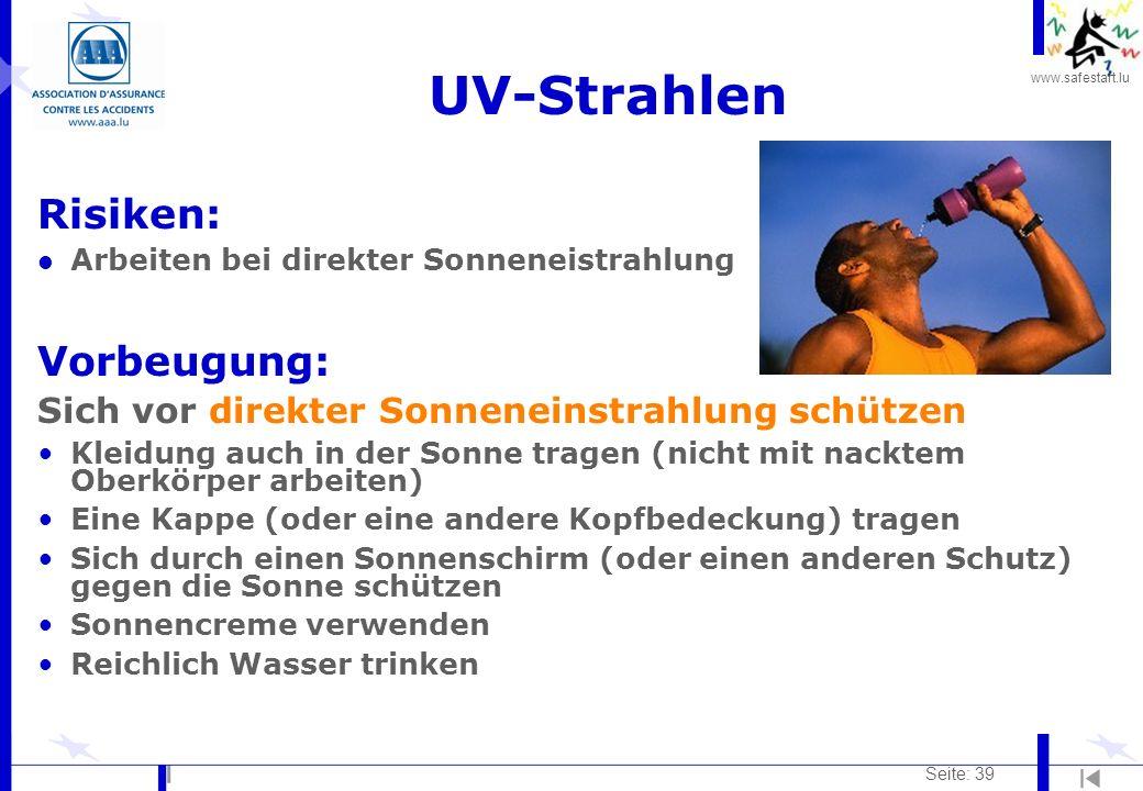 UV-Strahlen Risiken: Vorbeugung: