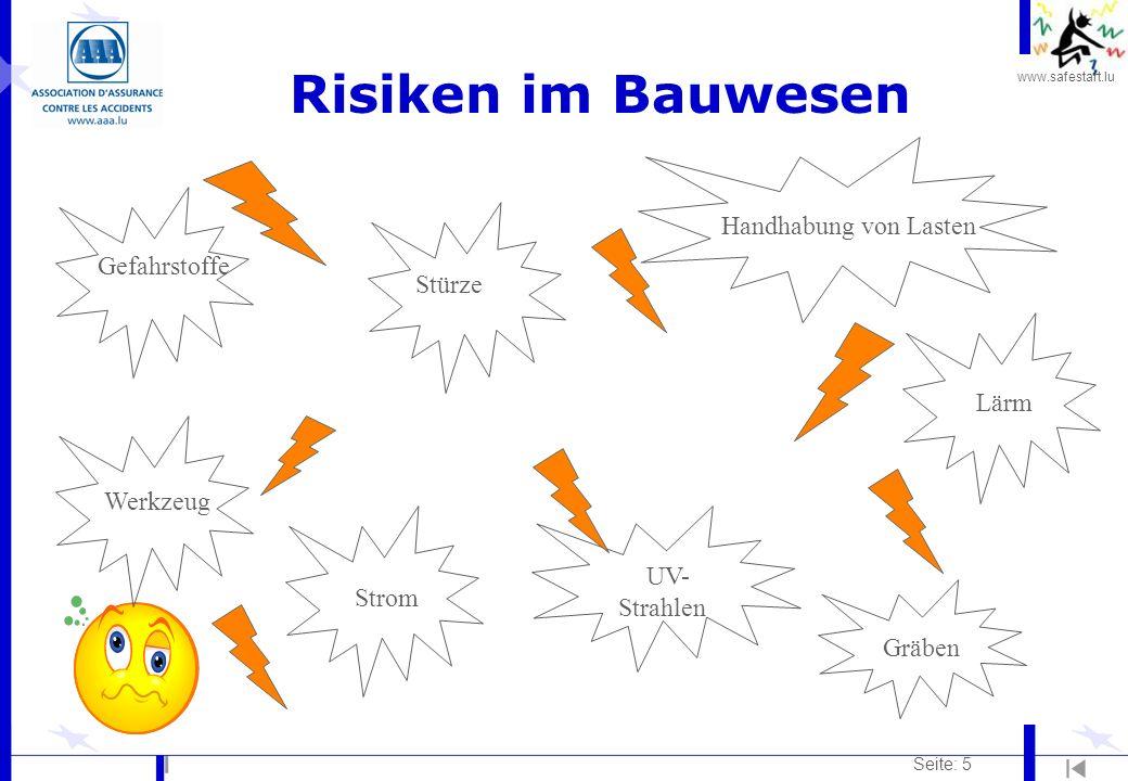 Risiken im Bauwesen Handhabung von Lasten Gefahrstoffe Stürze Lärm