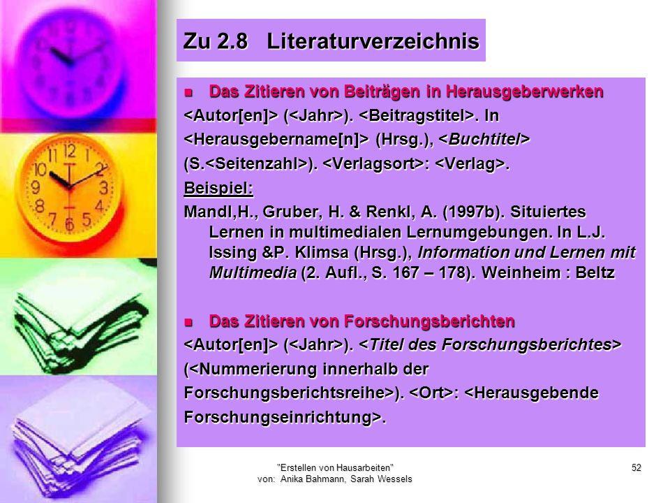 Zu 2.8 Literaturverzeichnis