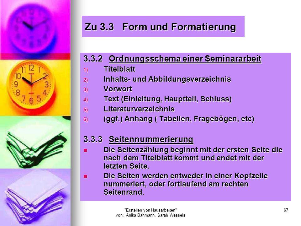 Zu 3.3 Form und Formatierung