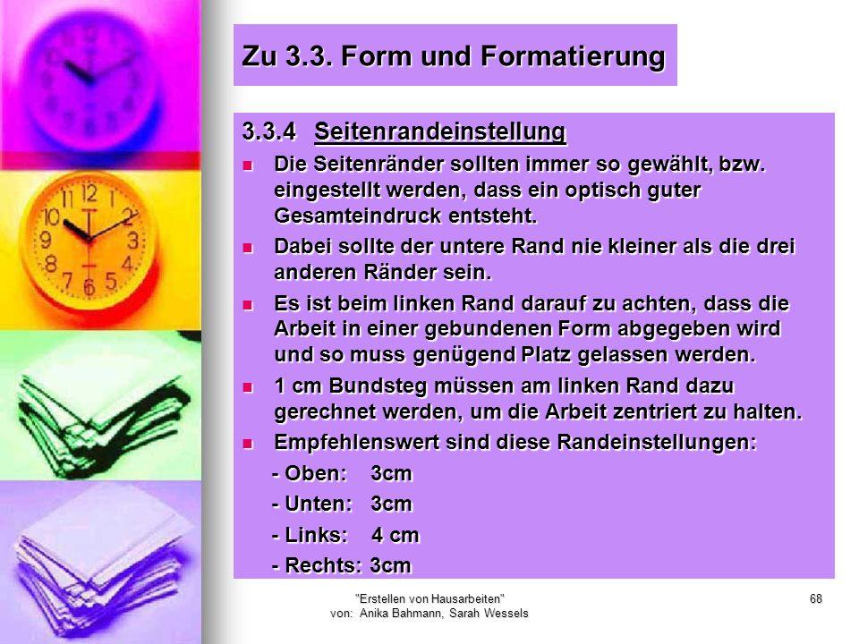 Zu 3.3. Form und Formatierung