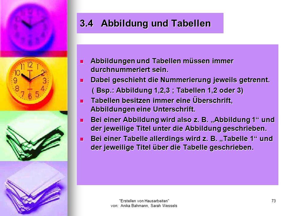 3.4 Abbildung und Tabellen