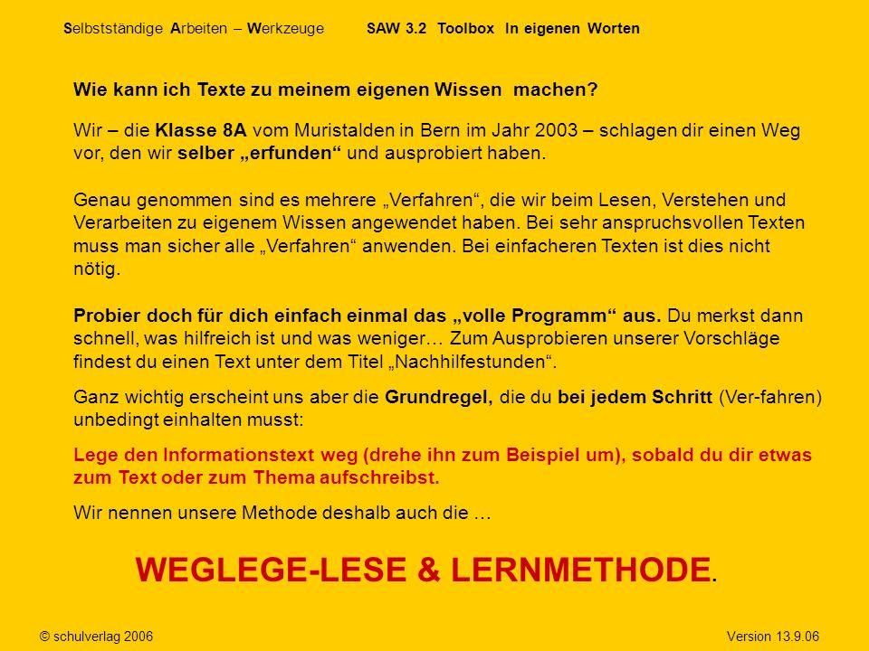 WEGLEGE-LESE & LERNMETHODE.