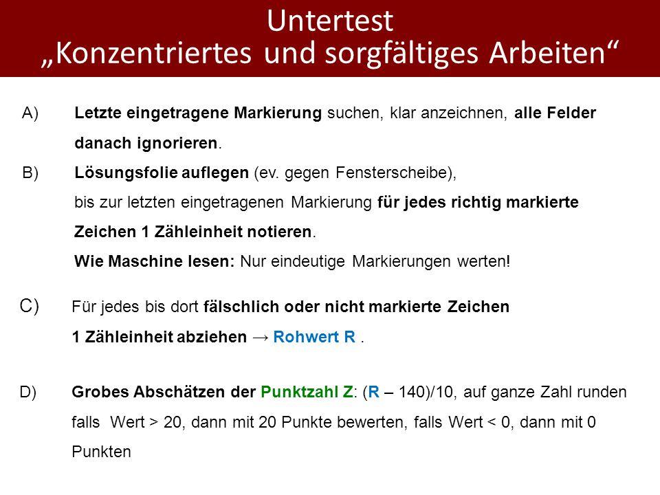"""Untertest """"Konzentriertes und sorgfältiges Arbeiten"""