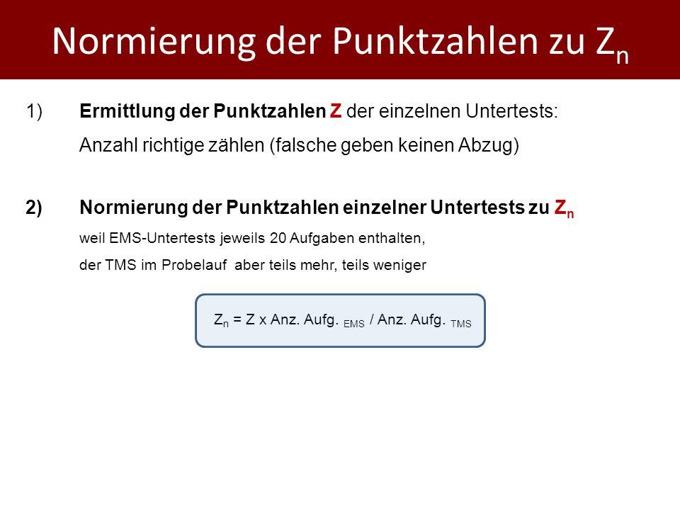 Normierung der Punktzahlen zu Zn