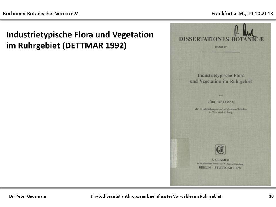 Industrietypische Flora und Vegetation im Ruhrgebiet (DETTMAR 1992)