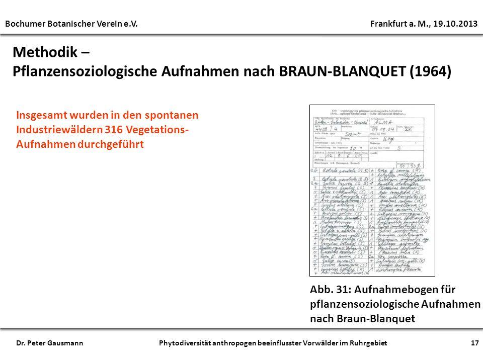 Pflanzensoziologische Aufnahmen nach BRAUN-BLANQUET (1964)
