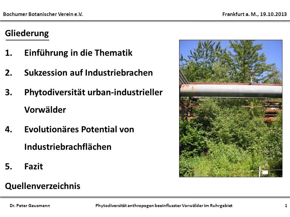 1. Einführung in die Thematik 2. Sukzession auf Industriebrachen