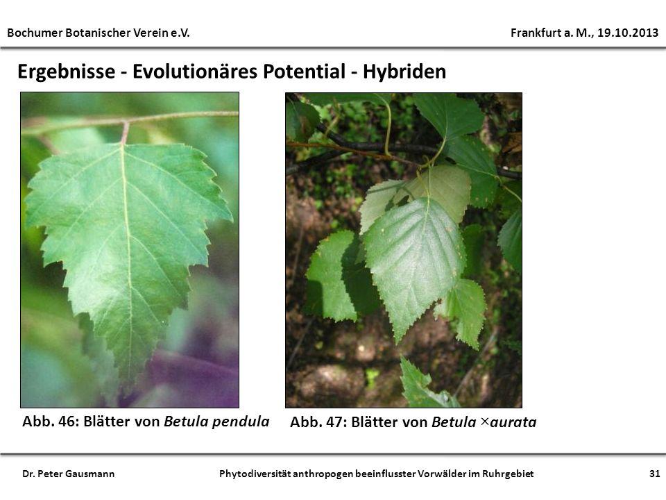 Ergebnisse - Evolutionäres Potential - Hybriden