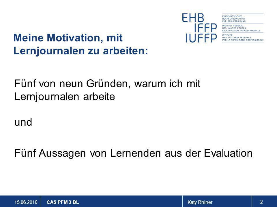 Meine Motivation, mit Lernjournalen zu arbeiten: