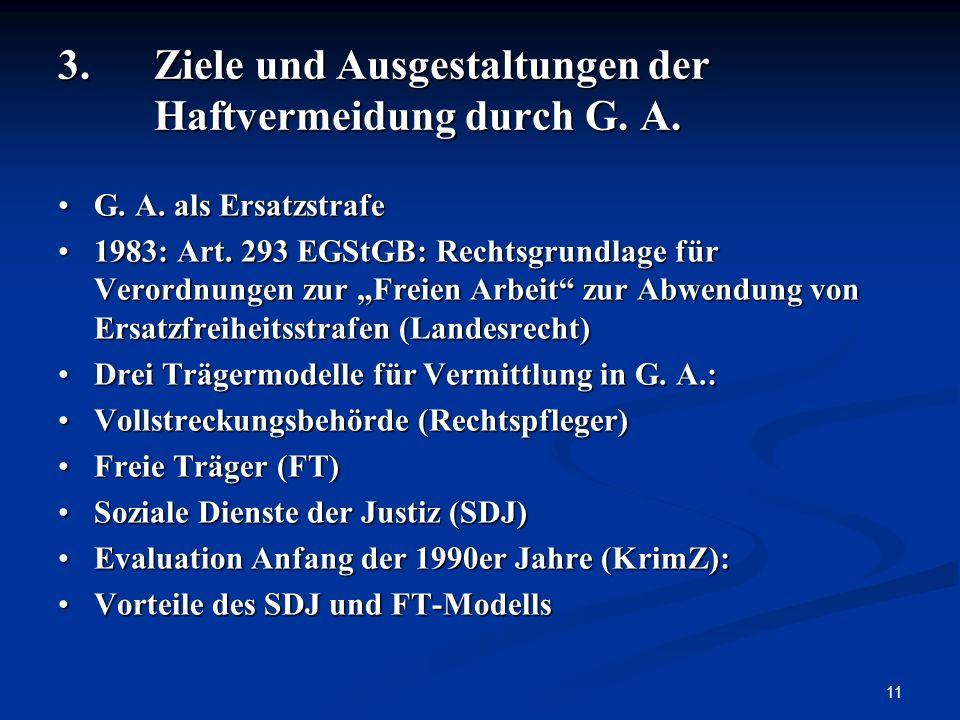 3. Ziele und Ausgestaltungen der Haftvermeidung durch G. A.