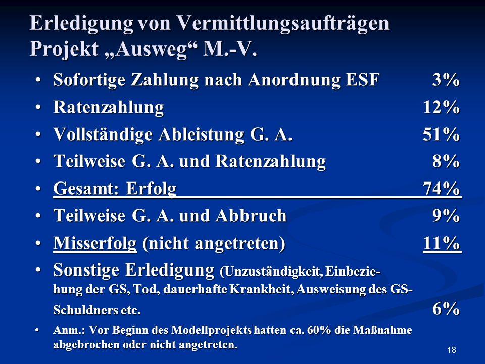"""Erledigung von Vermittlungsaufträgen Projekt """"Ausweg M.-V."""