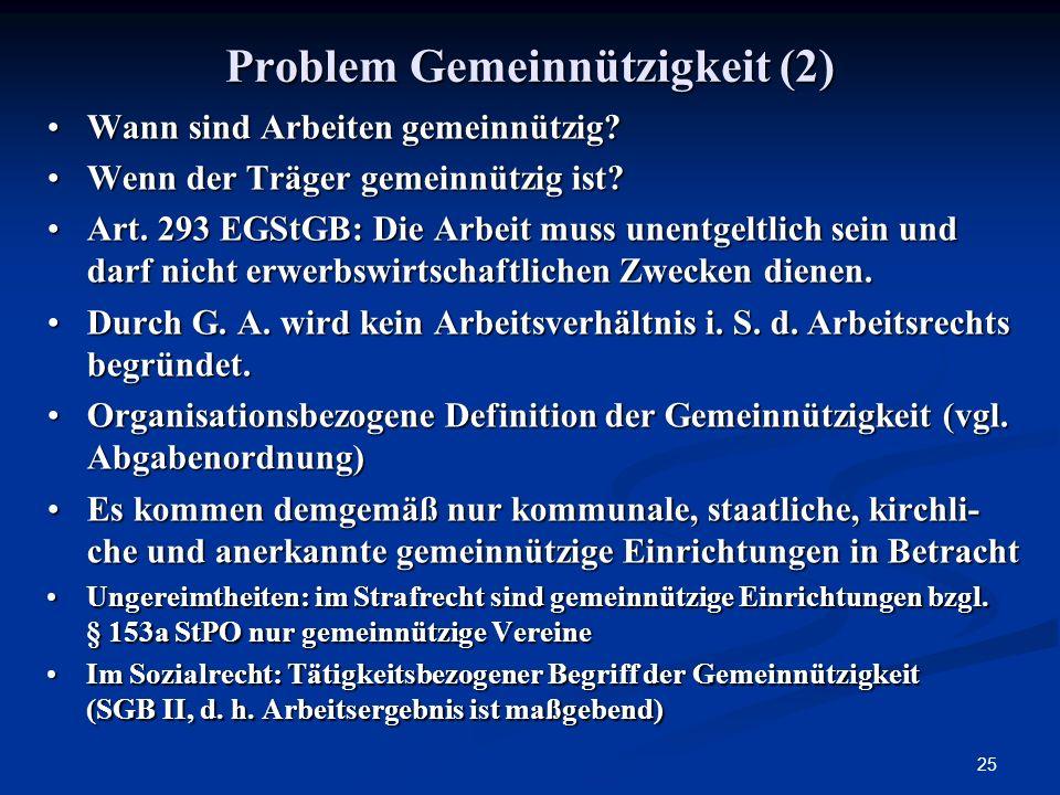 Problem Gemeinnützigkeit (2)