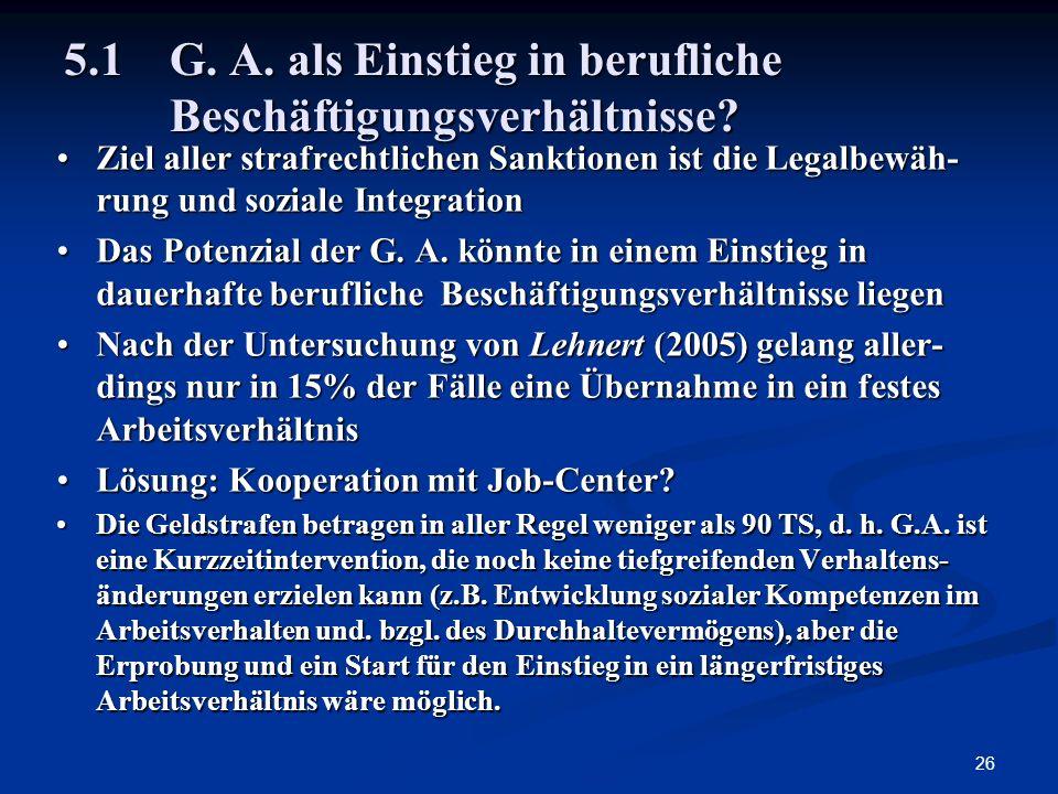 5.1 G. A. als Einstieg in berufliche Beschäftigungsverhältnisse