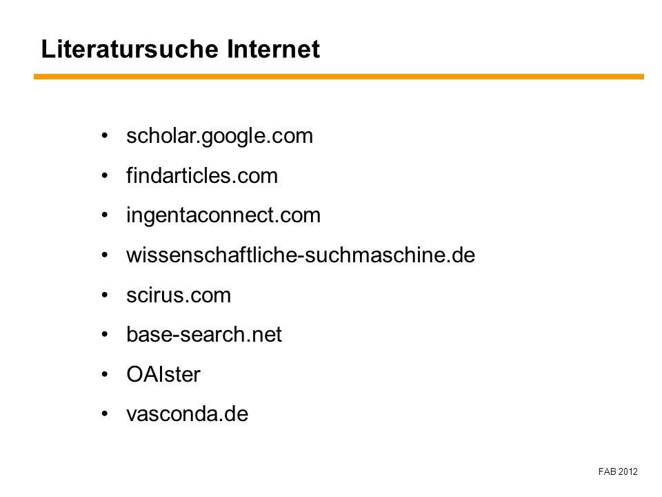 Literatursuche Internet