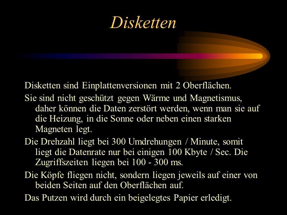 Disketten Disketten sind Einplattenversionen mit 2 Oberflächen.