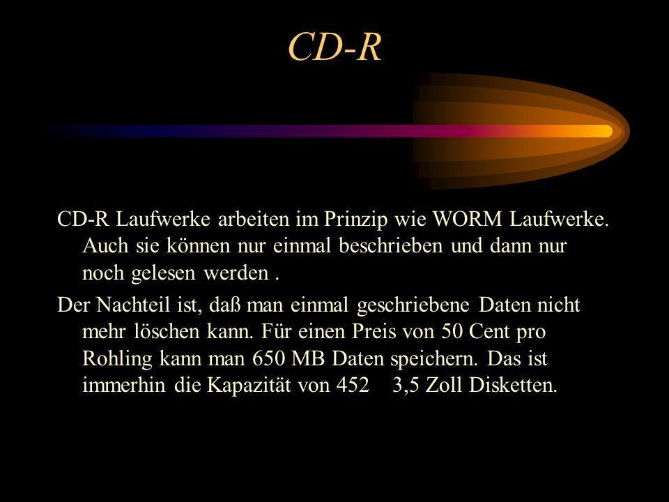 CD-R CD-R Laufwerke arbeiten im Prinzip wie WORM Laufwerke. Auch sie können nur einmal beschrieben und dann nur noch gelesen werden .
