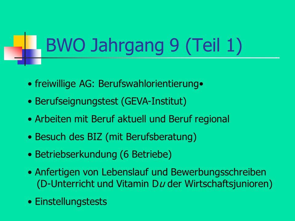 BWO Jahrgang 9 (Teil 1) • freiwillige AG: Berufswahlorientierung•