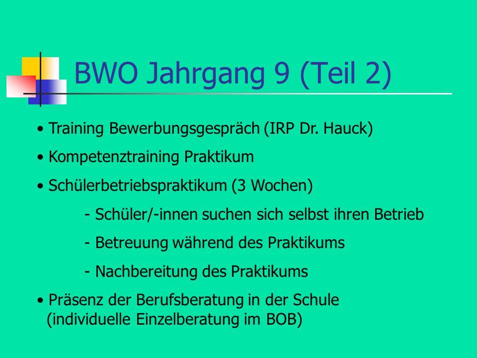 BWO Jahrgang 9 (Teil 2) • Training Bewerbungsgespräch (IRP Dr. Hauck)