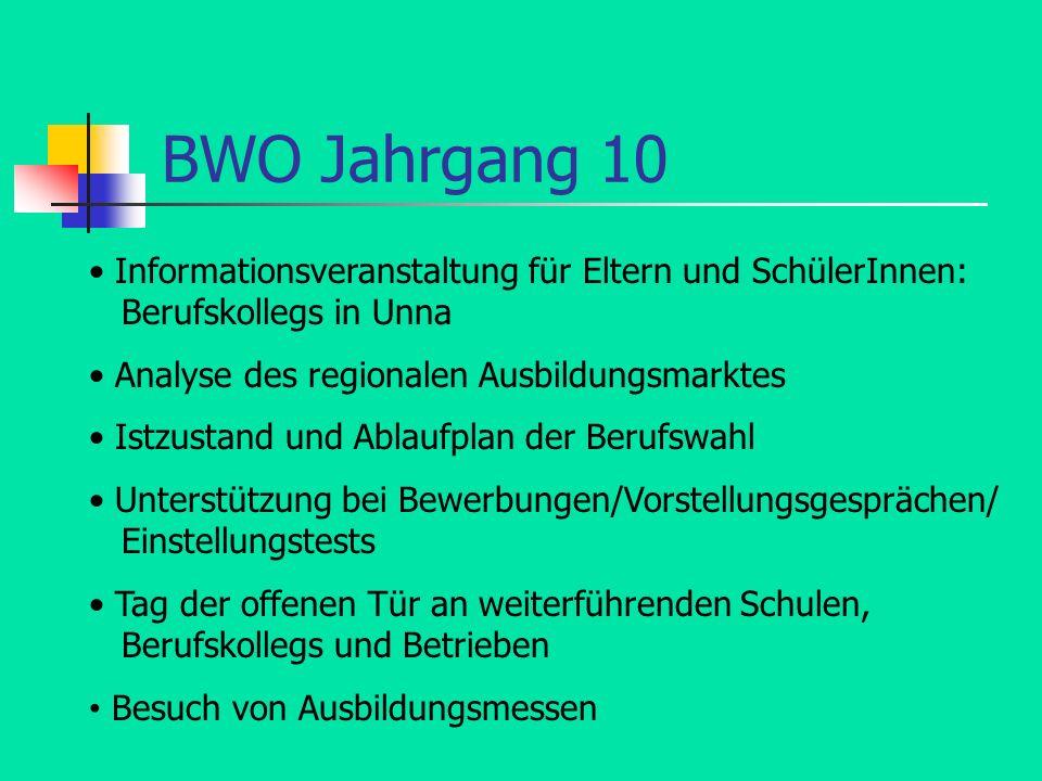 BWO Jahrgang 10 • Informationsveranstaltung für Eltern und SchülerInnen: Berufskollegs in Unna.