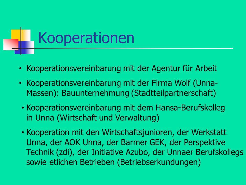 Kooperationen Kooperationsvereinbarung mit der Agentur für Arbeit