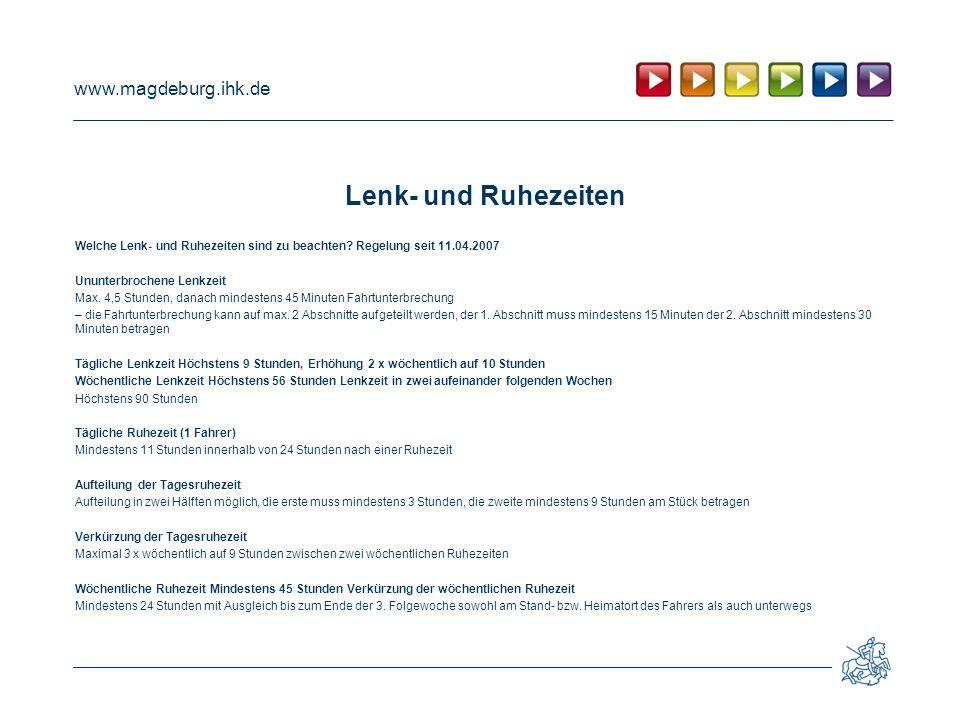 Lenk- und Ruhezeiten Welche Lenk- und Ruhezeiten sind zu beachten Regelung seit 11.04.2007. Ununterbrochene Lenkzeit.