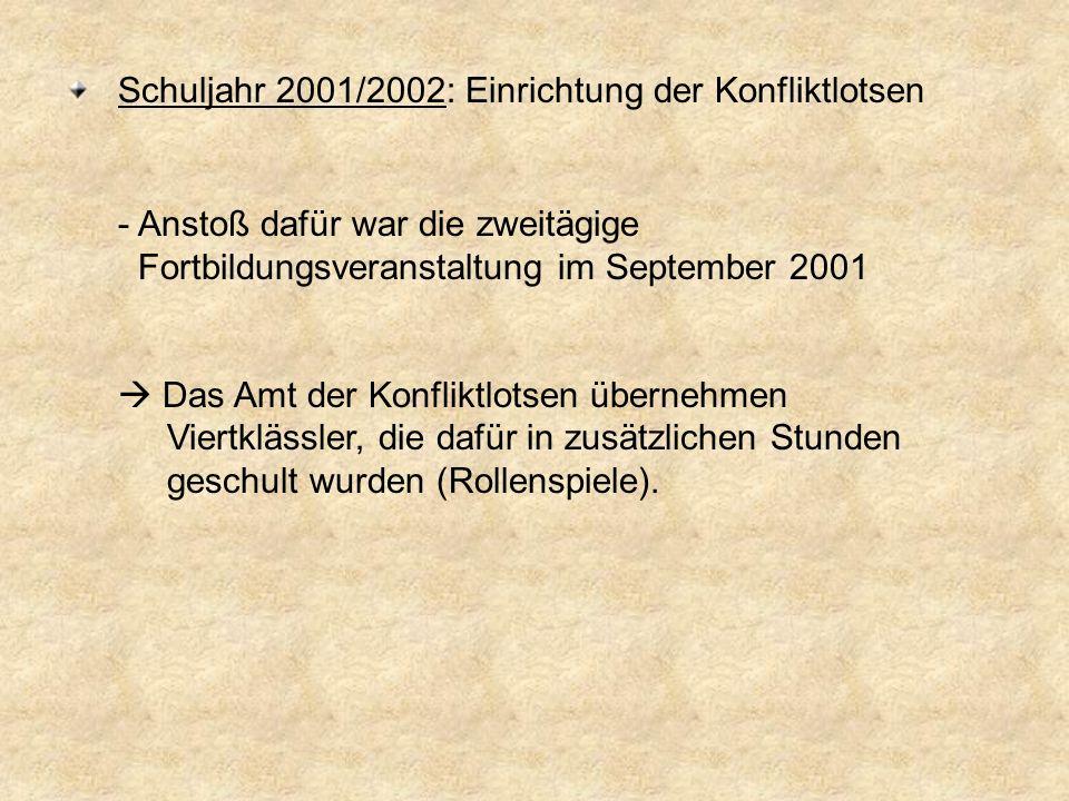 Schuljahr 2001/2002: Einrichtung der Konfliktlotsen