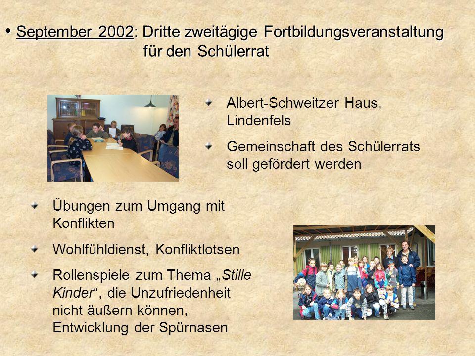 September 2002: Dritte zweitägige Fortbildungsveranstaltung