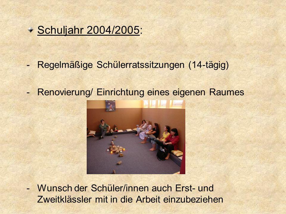 Schuljahr 2004/2005: Regelmäßige Schülerratssitzungen (14-tägig)