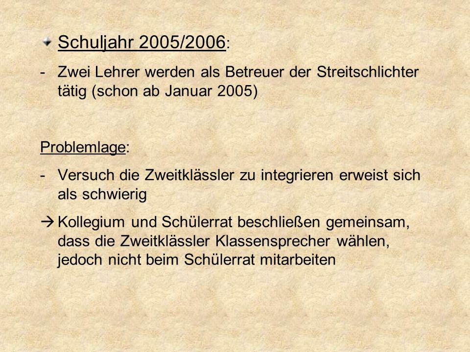 Schuljahr 2005/2006: Zwei Lehrer werden als Betreuer der Streitschlichter tätig (schon ab Januar 2005)