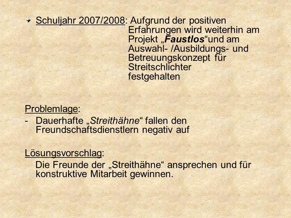 Schuljahr 2007/2008: Aufgrund der positiven