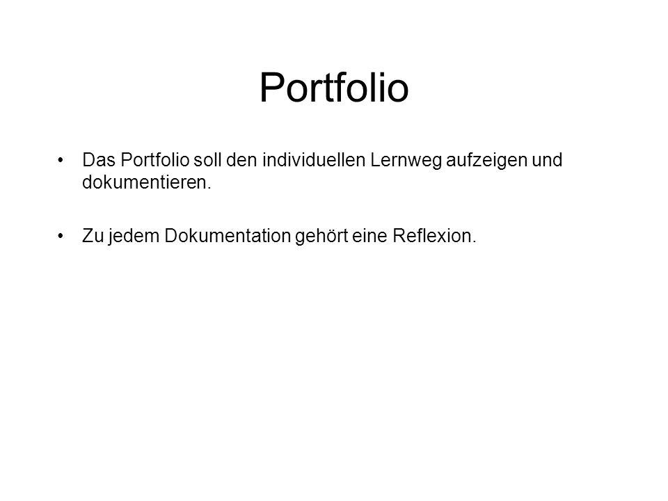 Portfolio Das Portfolio soll den individuellen Lernweg aufzeigen und dokumentieren.