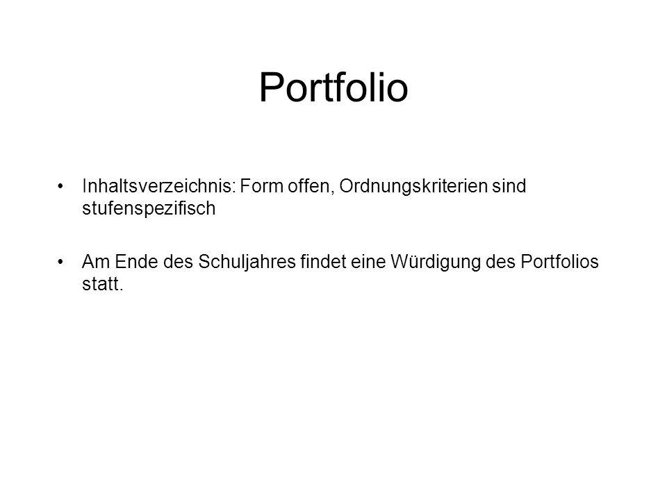 Portfolio Inhaltsverzeichnis: Form offen, Ordnungskriterien sind stufenspezifisch.