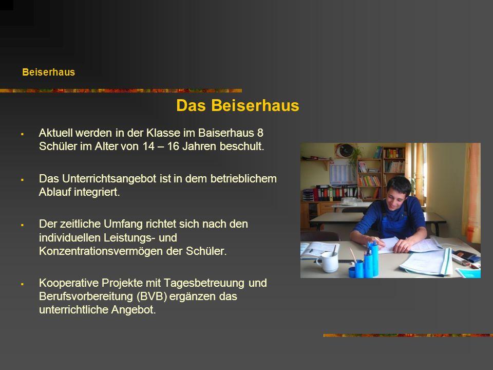 Beiserhaus Das Beiserhaus. Aktuell werden in der Klasse im Baiserhaus 8 Schüler im Alter von 14 – 16 Jahren beschult.