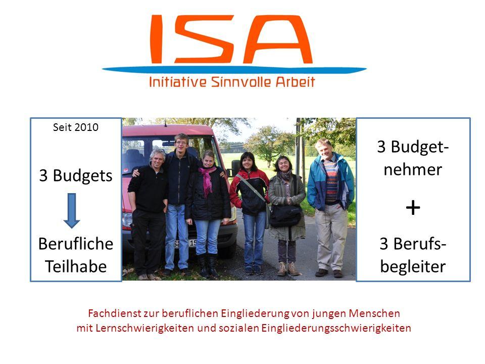 + 3 Budgets Berufliche Teilhabe 3 Budget-nehmer 3 Berufs- begleiter