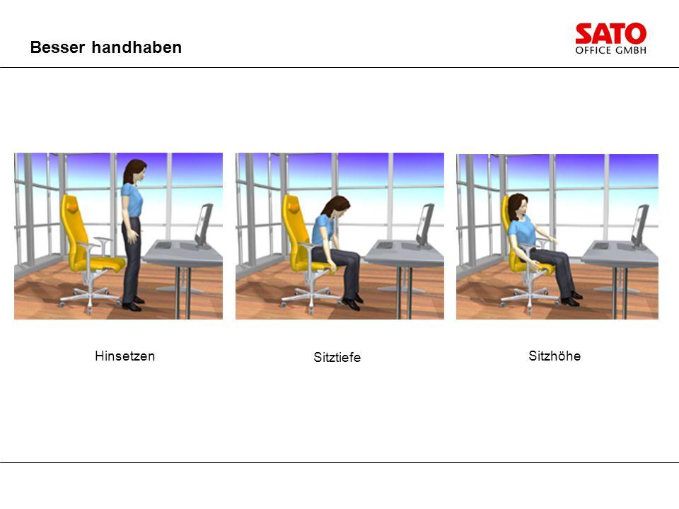 Besser handhaben Hinsetzen Sitztiefe Sitzhöhe