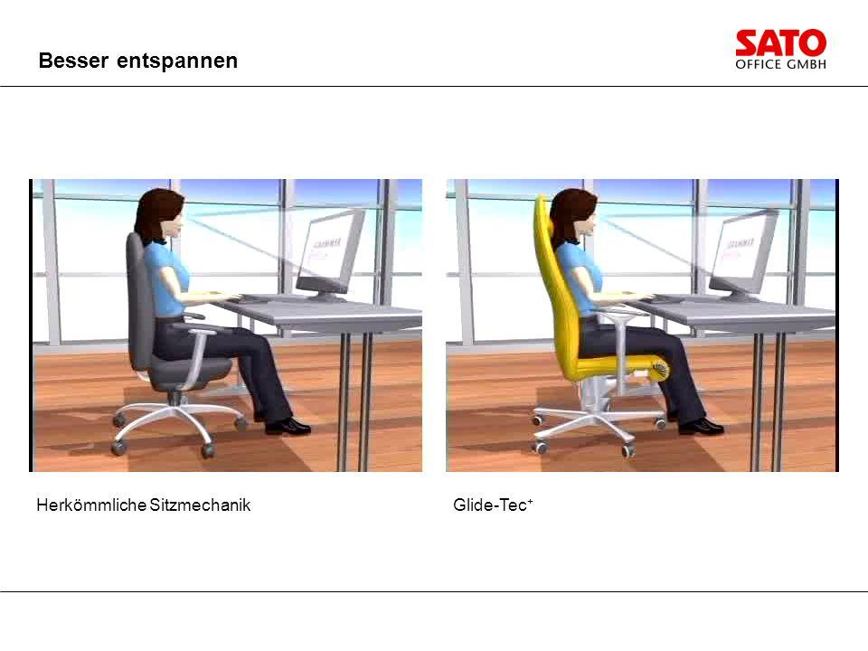 Besser entspannen Herkömmliche Sitzmechanik Glide-Tec+