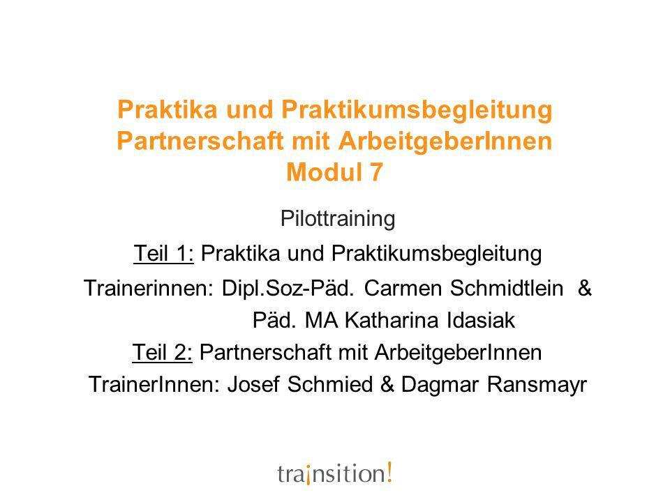 Praktika und Praktikumsbegleitung Partnerschaft mit ArbeitgeberInnen Modul 7