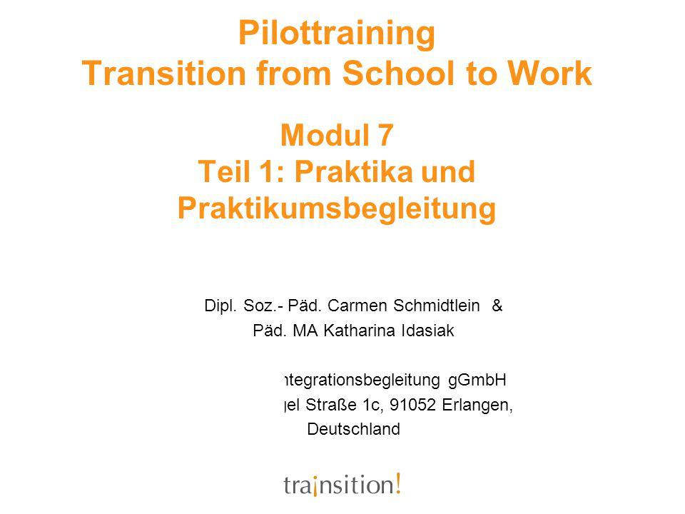 Pilottraining Transition from School to Work Modul 7 Teil 1: Praktika und Praktikumsbegleitung