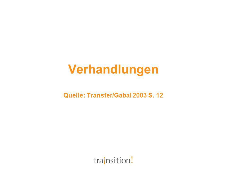 Verhandlungen Quelle: Transfer/Gabal 2003 S. 12
