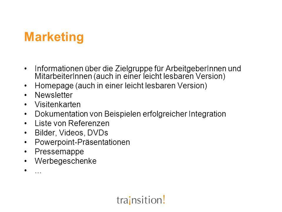 Marketing Informationen über die Zielgruppe für ArbeitgeberInnen und MitarbeiterInnen (auch in einer leicht lesbaren Version)