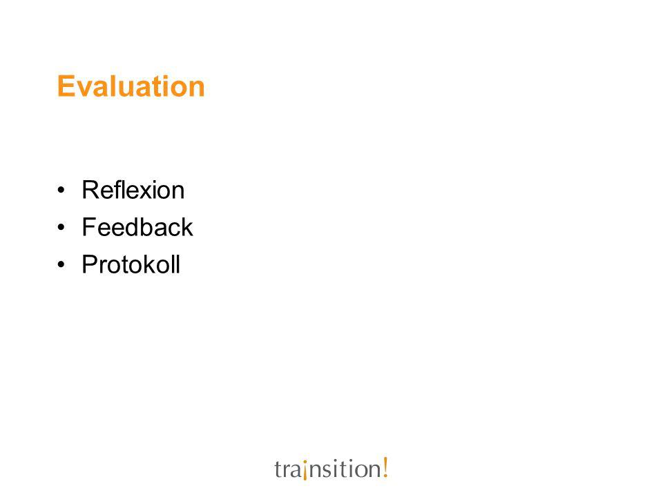 Evaluation Reflexion Feedback Protokoll