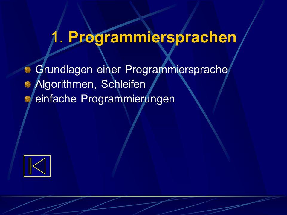 1. Programmiersprachen Grundlagen einer Programmiersprache