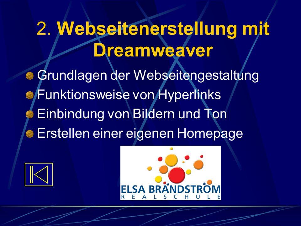 2. Webseitenerstellung mit Dreamweaver