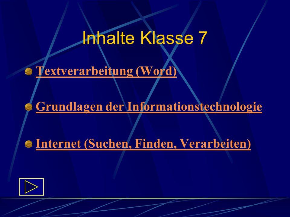 Inhalte Klasse 7 Textverarbeitung (Word)