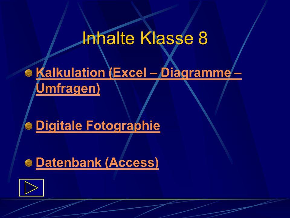 Inhalte Klasse 8 Kalkulation (Excel – Diagramme – Umfragen)