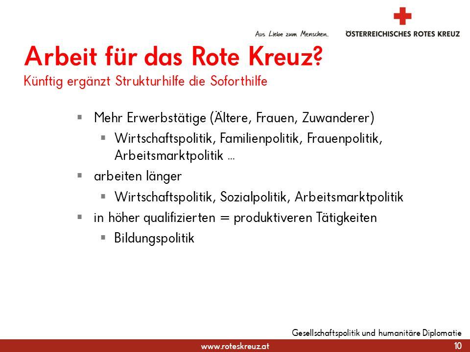 31.03.2017 Arbeit für das Rote Kreuz Künftig ergänzt Strukturhilfe die Soforthilfe. Mehr Erwerbstätige (Ältere, Frauen, Zuwanderer)