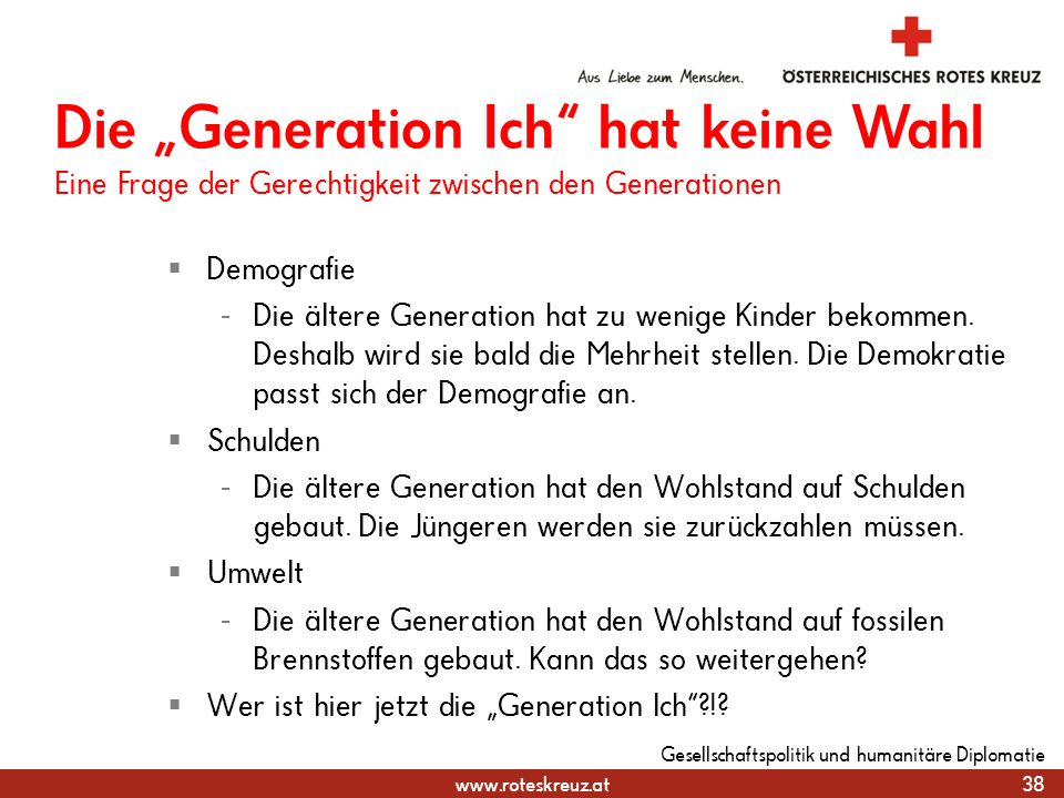 """31.03.2017 Die """"Generation Ich hat keine Wahl Eine Frage der Gerechtigkeit zwischen den Generationen."""