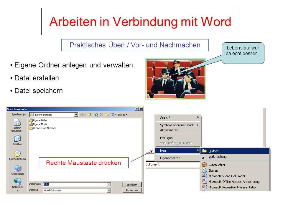 Arbeiten in Verbindung mit Word